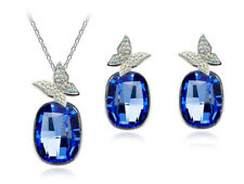 Elegant Large Stone Silver Royal Blue Crystal Butterflies Earrings Necklace Set