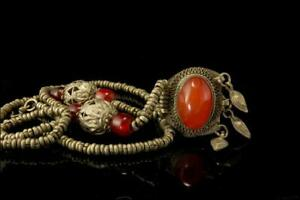 OLD TIBETAN CARNELIAN CABOCHON GLASS BEADS GLASS SILVER TONE NECKLACE A28938
