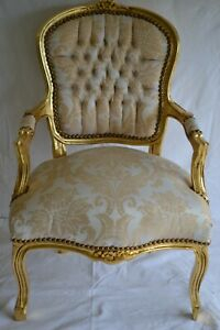 LOUIS XV ARM CHAIR FRENCH STYLE CHAIR VINTAGE FURNITURE GOLD AND WHITE