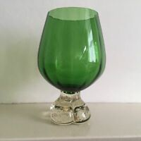 Vintage Murano Hand Blown Vase/Sculpture in Green and Clear Glass