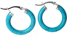 Blue Turquoise Ring Earrings-Leverback New Women's 925 sterling silver