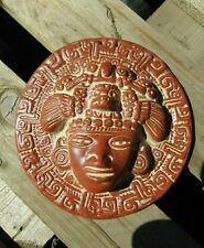 Hand Carved Made Ceramic Pico De Aiguilla Mayan Wall Art Hanging Plaque Mask