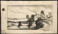 1760 Gravure Eau-forte signée Paysage de lac Hoffman