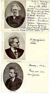 Norway -GRIEG-BJORNSON-IBSEN-COMPOSER-WRITER-PLAYWRIGHT- 3 Postcard Norwegian