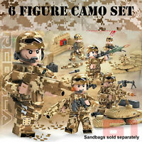 WWII Camouflage Soldiers MiniFigures Army Military Camo WW2 War Toy Set Fit Lego