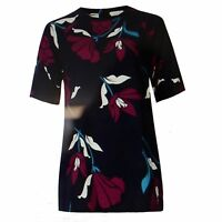 M&S Ladies Womens Floral Print Navy Blouses Tops Short Sleeve Soft Size 8-20