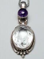 925 Silber Anhänger großer facett. Bergkristall & Amethyst Cabochon / A 822