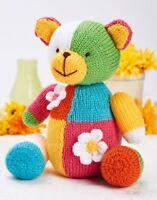Patchwork Teddy Bear Toy 24cm Tall DK Knitting Pattern