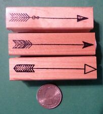 Arrows, Set of (3) Rubber Stamps, wood mounted