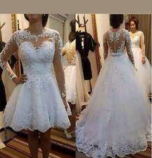 UK 2 in 1 Ivory Long Sleeve Beaded Lace Detachable Skirt Wedding Dress Size 18