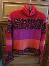 MJ Marcasiano Designer Fuschia Burgandy Novelty Turtleneck Sweater w/ Fringe M