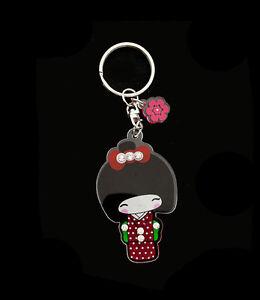 Porte Clés Collection Poupée Japonaise Kokeshi Rouge avec Strass   E  8354