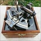 Antique Nautical Collectible Brass Working German Marine Sextant w  Wooden Box