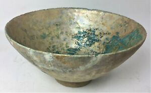 Middle Eastern Islamic Antique Turquoise Bowl w/ Beautiful Iridescence 12th C.