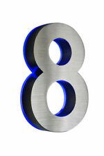 LED-Hausnummer 8 Edelstahl H18cm LED blau DC12Volt ohneTrafo V2A 0 1 2 3 4 5