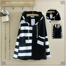 1 PC Harajuku Girl's Loose Stripe Hoodies Casual Student Hedging Sweater Coat