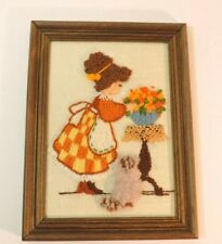 Vintage Embroidered Needlepoint Picture Young Lady Cat in Wooden 8 x 6 Frame