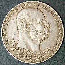 Rare 1903 A 5 Mark Silver Coin Sachsen Altenburg German
