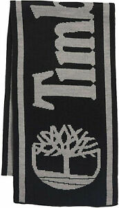 TIMBERLAND Reversible Logo Jacquard Scarf One Size Dark Grey MSRP $48 NEW