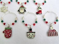 #5240 -- WINE BEVERAGE CHARMS SET OF 6, CHRISTMAS HOLIDAYS SWAROVSKI CRYSTALS