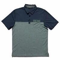 Travis Mathew Mens L Short Sleeve Golf Polo Shirt Pima Cotton Gray Blue