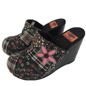 Y2K Patchwork Clog Mules Slip On Boho Wedge Size 10 Studded Floral Plaid Shoes