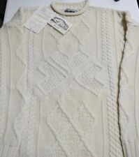 Aran Crafts Irish ivory cable knit sweater Misses size Medium New With Tags