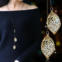 Chic Women Rhinestone Leaf Pendant Long Sweater Necklace Chain Jewelry Gift Lady