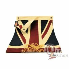 Union Jack Flag with Gold Royal Coat of Arms Embroidered Crest | Cotton | Bright