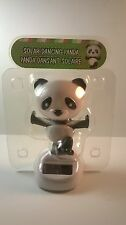 SOLAR POWERED DANCING PANDA BEAR KUNG FU WHITE & BLACK ON WHITE BASE HOME DECOR