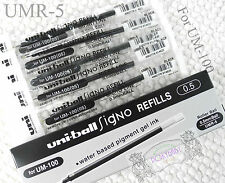 12 pcs refills UMR-5 For UNI-BALL Signo UM-100 roller ball pen 0.5mm BLACK ink