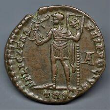 SCARCE BILLON HEAVY MAIORINA OF MAGNENTIUS: EMPEROR STANDING, TRIER, AD 350. E.F