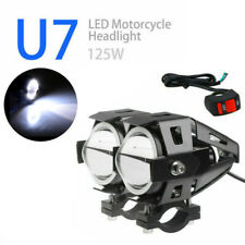 2X 125W CREE U7Motorcycle LED Headlight Driving Fog Light White Angel Eye+Switch