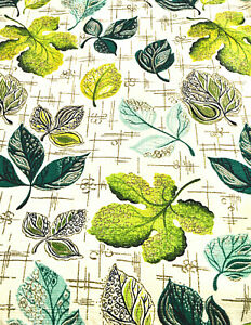 MID CENTURY BARKCLOTH STYLIZED VARIETY OF TREE GREEN LEAVES CURTAINS, SET/4