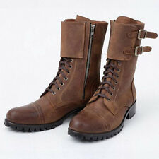Vintage Mens punk Motorcycle leather Buckle Combat Military Mid Calf army Boots