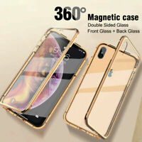 For iPhone 11 Pro MAX XS XR 8 7 Plus 360° Magnetic Adsorption Metal Glass Cover