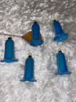 Lot of 5 Vintage Plastic Blue BELL Christmas Tree Ornaments Iridescent
