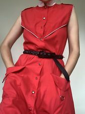 Vintage Red Oversized Collar Pocked Midi Dress
