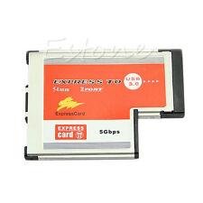 2 Port USB 3.0 HUB Express Card ExpressCard Hidden 54mm Adapter for Laptop PC