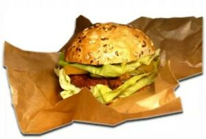 25 LARGE Greaseproof Paper Sheets BROWN burger wrap chips sandwiches 30x40cm