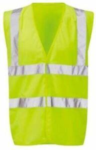 Hi Vis Vest Large Size Yellow Unisex Waistcoats 2 Reflective Bands Hi-Vis Vests