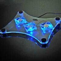 Magic LED 3 Fans USB Cooler Cooling Pad Laptop Notebook LED Light Radiator