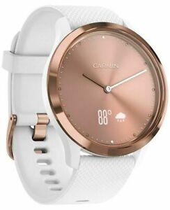 Garmin 010-01850-12 Vivomove HR Sport Smartwatch White Silicone Band - Rose Gold
