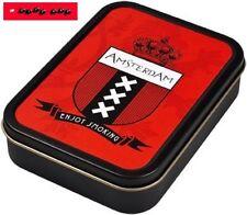 Square box lata de metal con tapa (hermético) motivo Amsterdam/8cm x 11cm