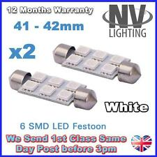 2 x 41mm 6 x 5050 SMD LED WHITE Festoon Interior Light Bulb Auto Lamp C5W 12V UK