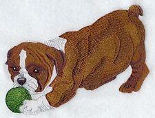 Embroidered Ladies Short-Sleeved T-Shirt - English Bulldog Puppy I1292