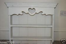 Shabby Chic Rústico Estante De Pino con detalle de corazón en un gris suave 64 X 62cm