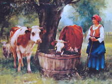 "20/""x16/"" Art Print antique decor 1890- Julien Dupre Milkmaid w her Cows"