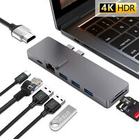 Dual USB Type c HUB to Thunderbolt 3 HDMI RJ45 Ethernet Adapter for Macbook Air