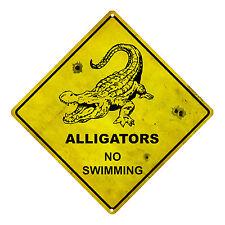 ALLIGATORS NO SWIMMING TIN SIGN ALLIGATORS WARNING SIGN ALLIGATOR SIGN